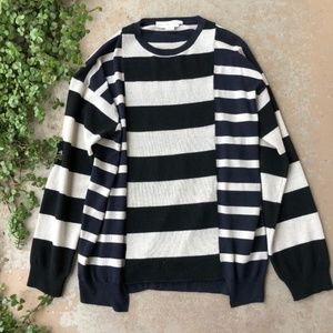 Stella McCartney Navy Black Stripe Wool Sweater